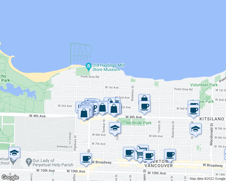map of restaurants, bars, coffee shops, grocery stores, and more near 3530 West 1st Avenue in Vancouver