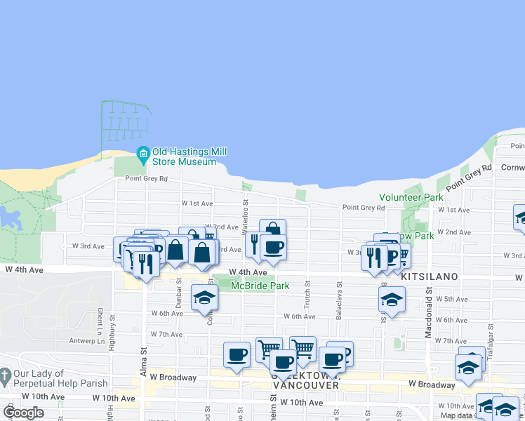 map of restaurants, bars, coffee shops, grocery stores, and more near 3342 West 1st Avenue in Vancouver