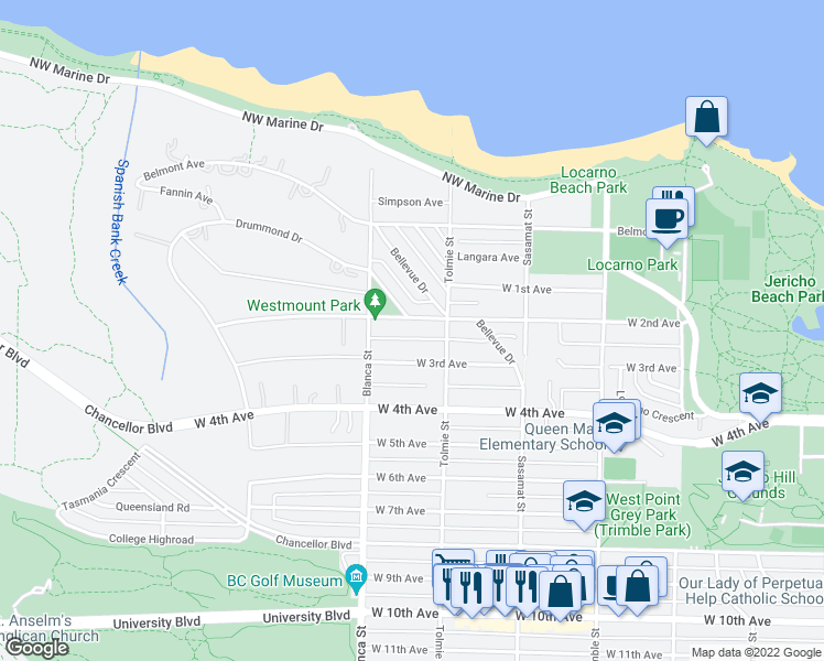 map of restaurants, bars, coffee shops, grocery stores, and more near 4634 West 2nd Avenue in Vancouver