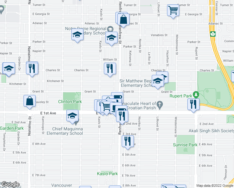 map of restaurants, bars, coffee shops, grocery stores, and more near 1515 Renfrew Street in Vancouver