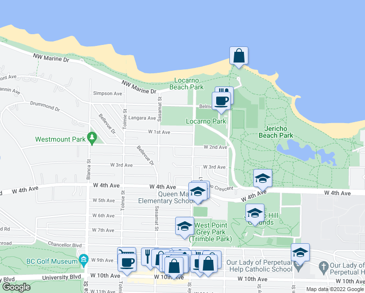 map of restaurants, bars, coffee shops, grocery stores, and more near 4454 West 2nd Avenue in Vancouver
