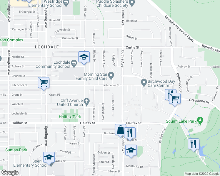 map of restaurants, bars, coffee shops, grocery stores, and more near 7130 Kitchener Street in Burnaby