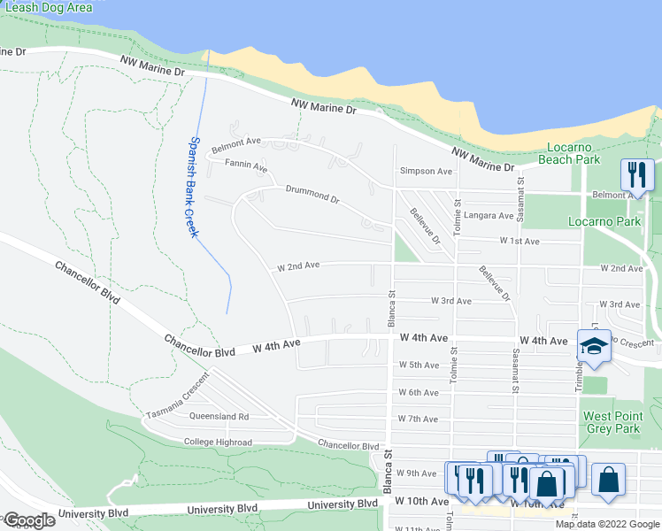 map of restaurants, bars, coffee shops, grocery stores, and more near 4754 West 2nd Avenue in Vancouver