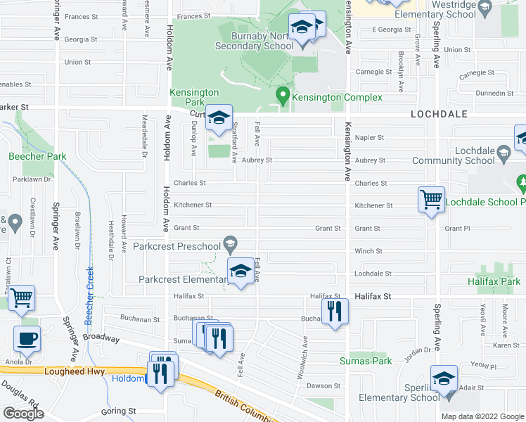 map of restaurants, bars, coffee shops, grocery stores, and more near 6110 Kitchener Street in Burnaby