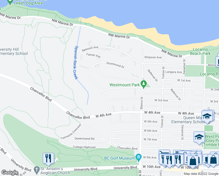 map of restaurants, bars, coffee shops, grocery stores, and more near 4777 West 2nd Avenue in Vancouver