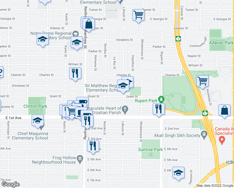 map of restaurants, bars, coffee shops, grocery stores, and more near 3073 Grant Street in Vancouver