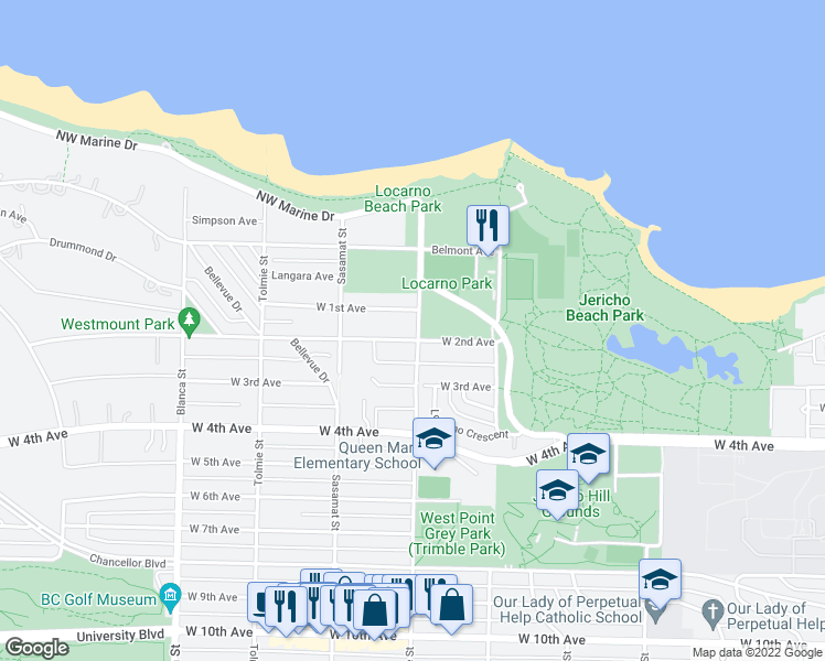 map of restaurants, bars, coffee shops, grocery stores, and more near 1775 Trimble Street in Vancouver