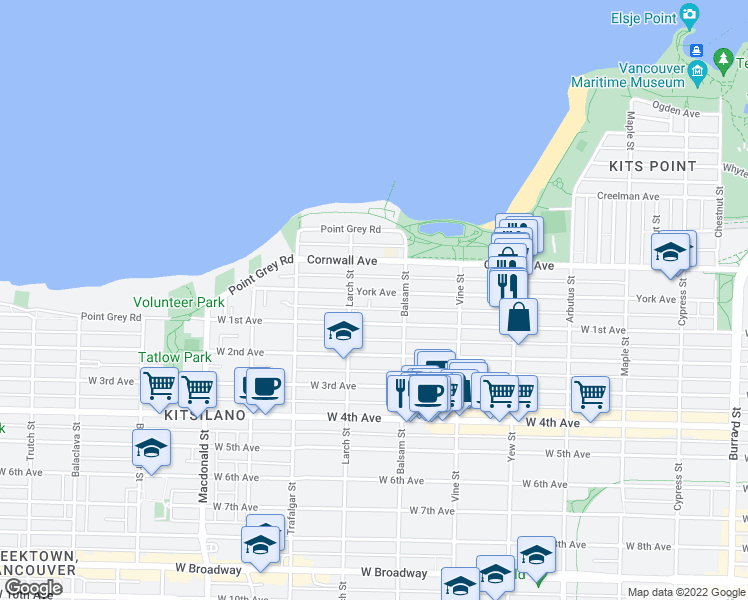 map of restaurants, bars, coffee shops, grocery stores, and more near 2458 York Avenue in Vancouver