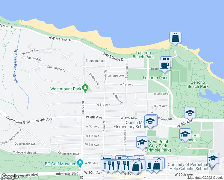 map of restaurants, bars, coffee shops, grocery stores, and more near 4563 West 2nd Avenue in Vancouver