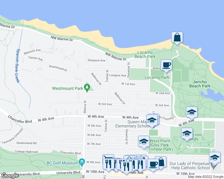 map of restaurants, bars, coffee shops, grocery stores, and more near 4573 West 2nd Avenue in Vancouver