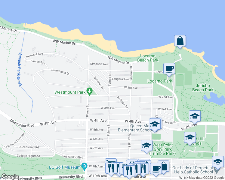 map of restaurants, bars, coffee shops, grocery stores, and more near 4588 West 1st Avenue in Vancouver