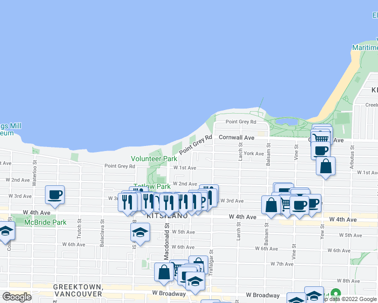 map of restaurants, bars, coffee shops, grocery stores, and more near 2706 Point Grey Road in Vancouver