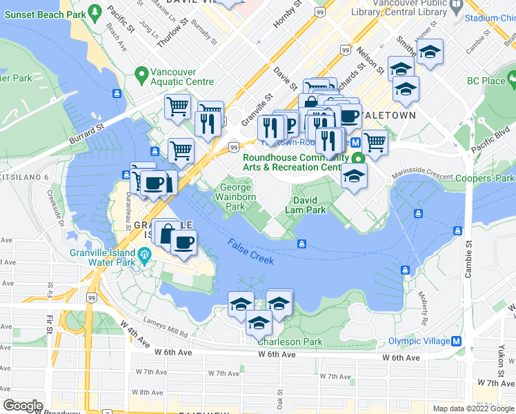 map of restaurants, bars, coffee shops, grocery stores, and more near 428 Beach Crescent in Vancouver
