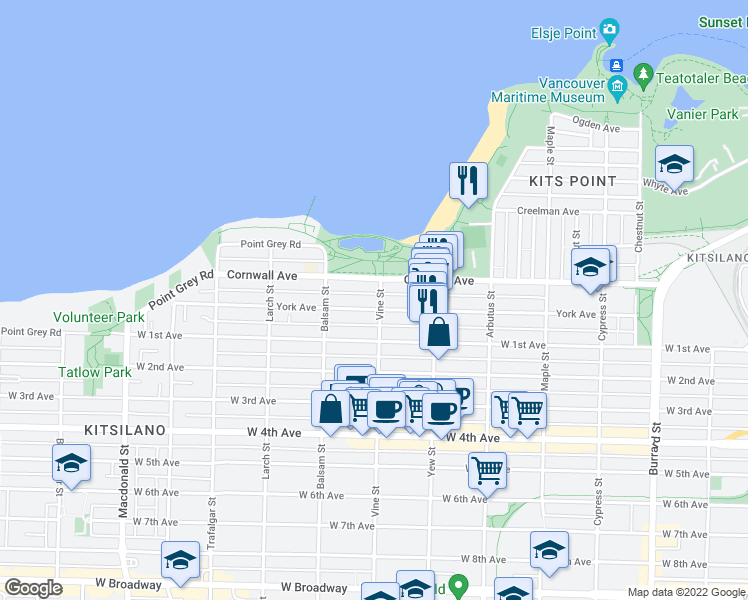 map of restaurants, bars, coffee shops, grocery stores, and more near 1535 Vine Street in Vancouver