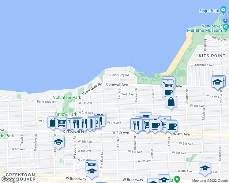 map of restaurants, bars, coffee shops, grocery stores, and more near 2525 York Avenue in Vancouver