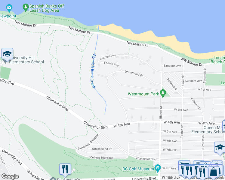 map of restaurants, bars, coffee shops, grocery stores, and more near 1716 Drummond Drive in Vancouver