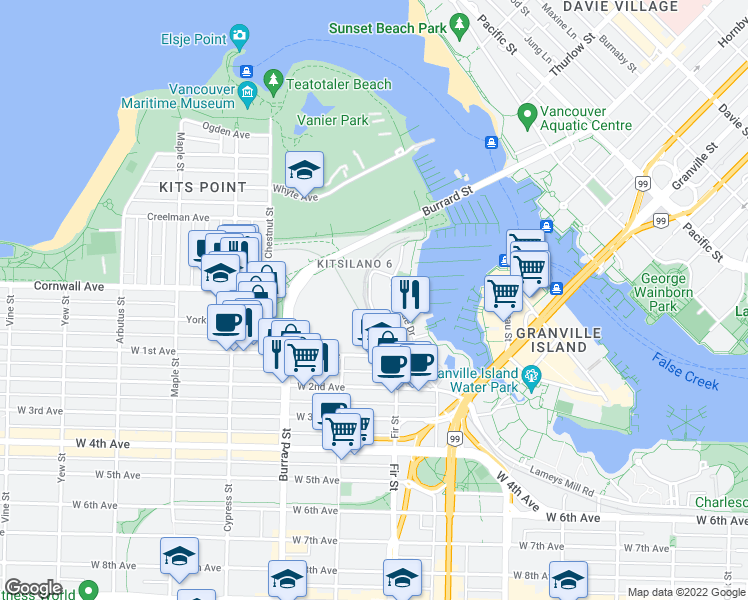 map of restaurants, bars, coffee shops, grocery stores, and more near 1470 Pennyfarthing Drive in Vancouver