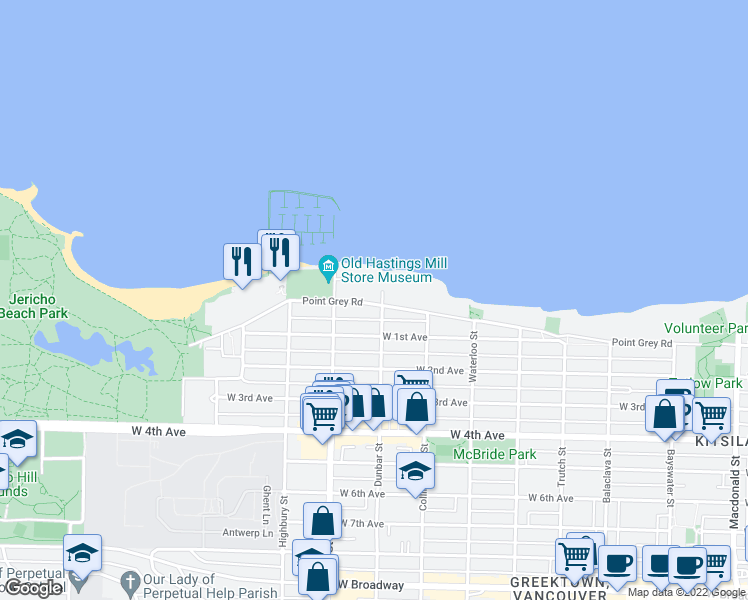 map of restaurants, bars, coffee shops, grocery stores, and more near 3585 Point Grey Road in Vancouver