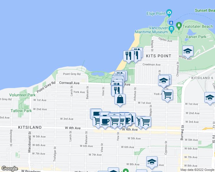 map of restaurants, bars, coffee shops, grocery stores, and more near 2280 Cornwall Avenue in Vancouver