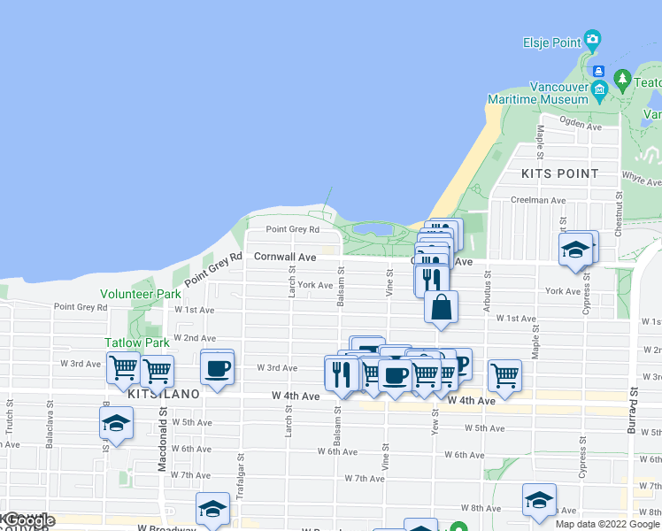 map of restaurants, bars, coffee shops, grocery stores, and more near 2410 Cornwall Avenue in Vancouver