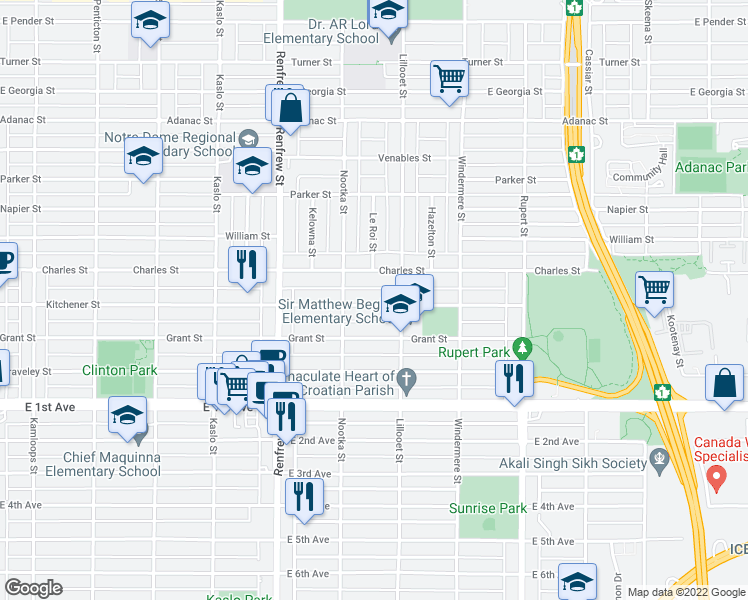 map of restaurants, bars, coffee shops, grocery stores, and more near 3051 Kitchener Street in Vancouver