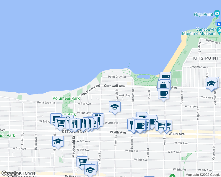 map of restaurants, bars, coffee shops, grocery stores, and more near 2536 Cornwall Avenue in Vancouver
