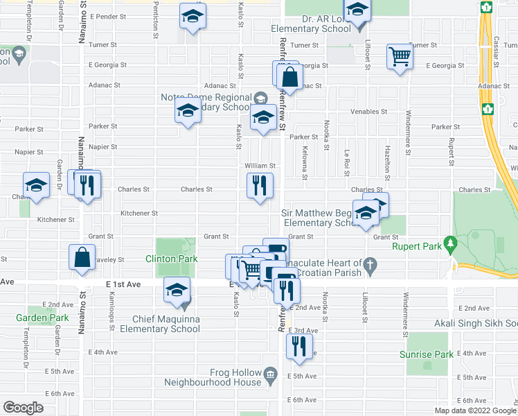 map of restaurants, bars, coffee shops, grocery stores, and more near 2855 Kitchener Street in Vancouver