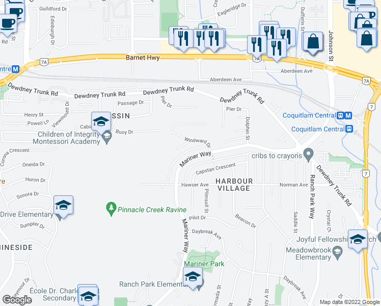 map of restaurants, bars, coffee shops, grocery stores, and more near 3187 Mariner Way in Coquitlam