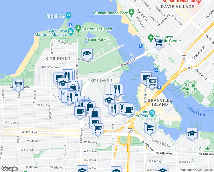 map of restaurants, bars, coffee shops, grocery stores, and more near 1450 Pennyfarthing Drive in Vancouver