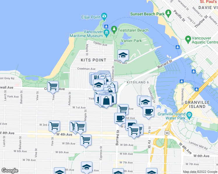 map of restaurants, bars, coffee shops, grocery stores, and more near 1815 Cornwall Avenue in Vancouver