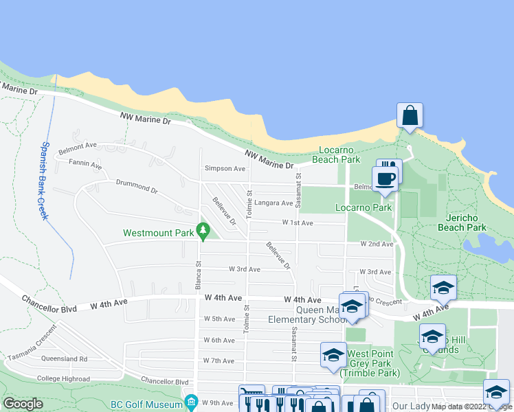 map of restaurants, bars, coffee shops, grocery stores, and more near 4584 Langara Avenue in Vancouver