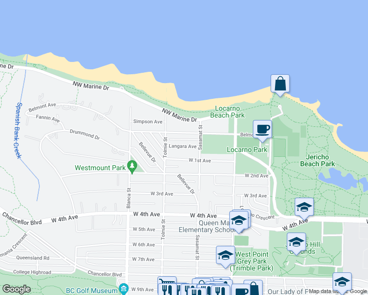 map of restaurants, bars, coffee shops, grocery stores, and more near 4546 Langara Avenue in Vancouver