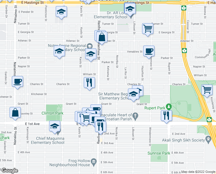 map of restaurants, bars, coffee shops, grocery stores, and more near 2954 Charles Street in Vancouver