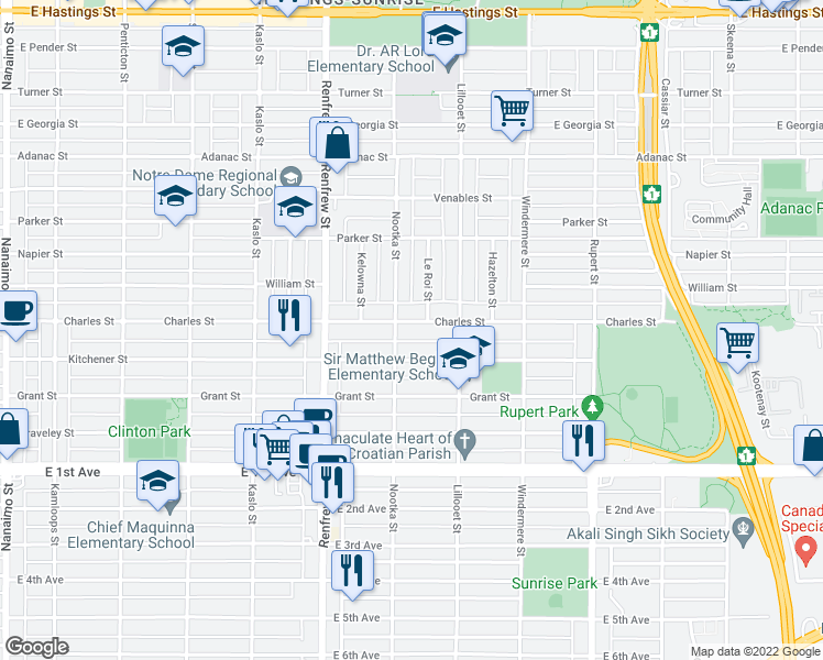 map of restaurants, bars, coffee shops, grocery stores, and more near 3022 Charles Street in Vancouver