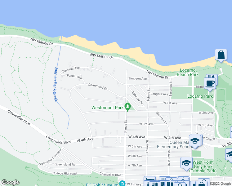 map of restaurants, bars, coffee shops, grocery stores, and more near 4727 Drummond Drive in Vancouver