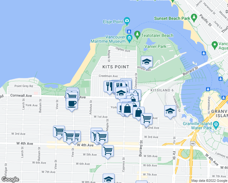 map of restaurants, bars, coffee shops, grocery stores, and more near 1429 Walnut Street in Vancouver