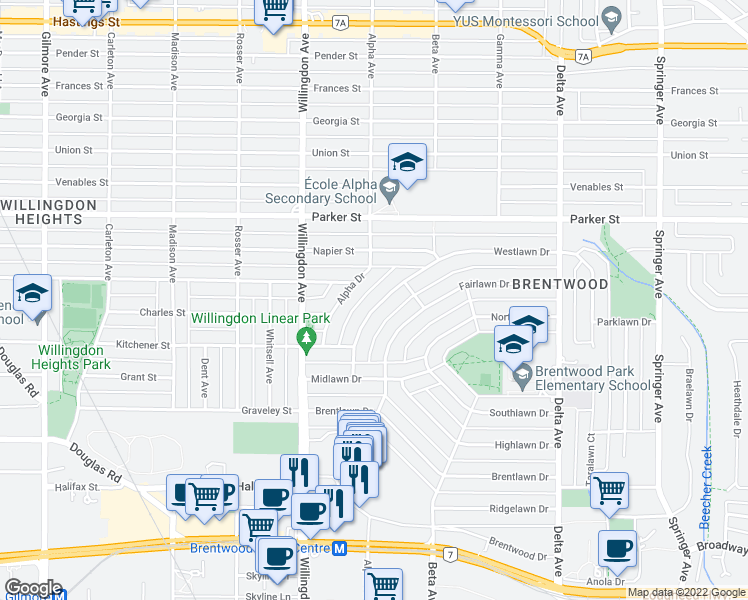 map of restaurants, bars, coffee shops, grocery stores, and more near 4669 Westlawn Drive in Burnaby