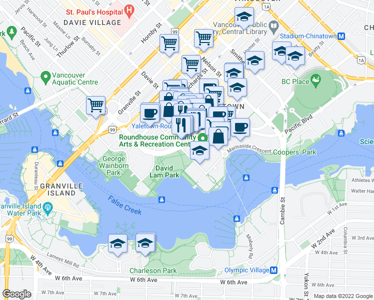 map of restaurants, bars, coffee shops, grocery stores, and more near 199 Drake Street in Vancouver