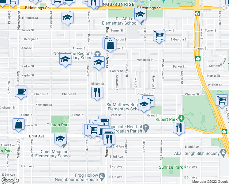 map of restaurants, bars, coffee shops, grocery stores, and more near 2939 Charles Street in Vancouver