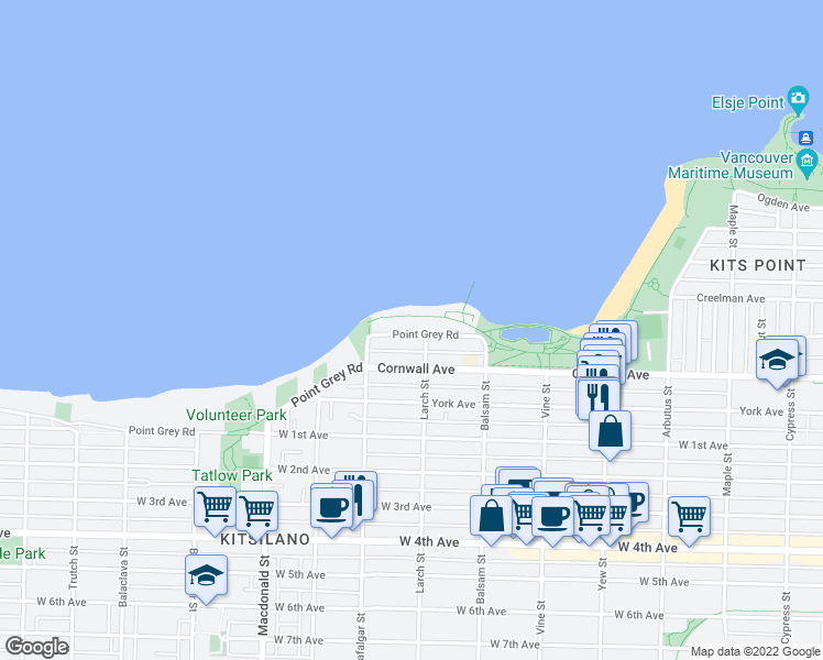 map of restaurants, bars, coffee shops, grocery stores, and more near 2523 Point Grey Road in Vancouver
