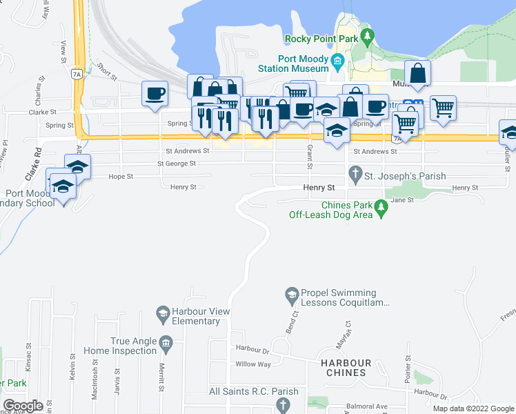 map of restaurants, bars, coffee shops, grocery stores, and more near Noble Court in Port Moody