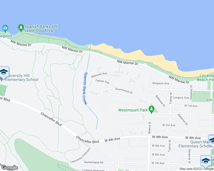 map of restaurants, bars, coffee shops, grocery stores, and more near 4818 Fannin Avenue in Vancouver