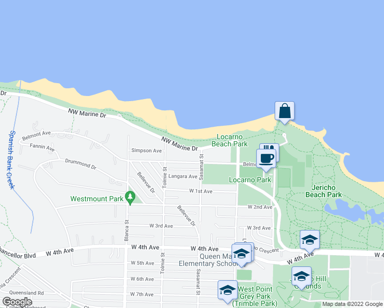 map of restaurants, bars, coffee shops, grocery stores, and more near 4522 Northwest Marine Drive in Vancouver