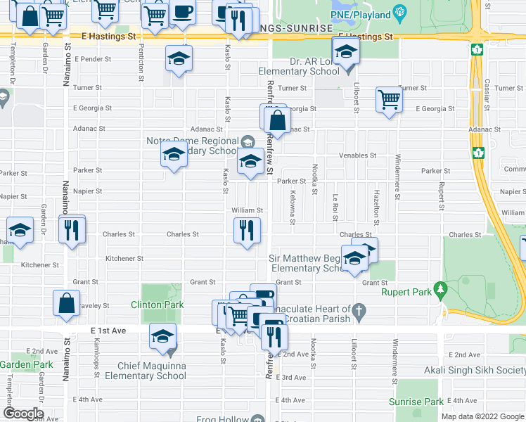 map of restaurants, bars, coffee shops, grocery stores, and more near 1203 Renfrew Street in Vancouver
