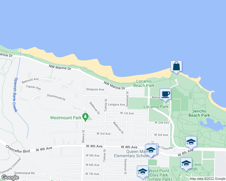 map of restaurants, bars, coffee shops, grocery stores, and more near 4566 Northwest Marine Drive in Vancouver