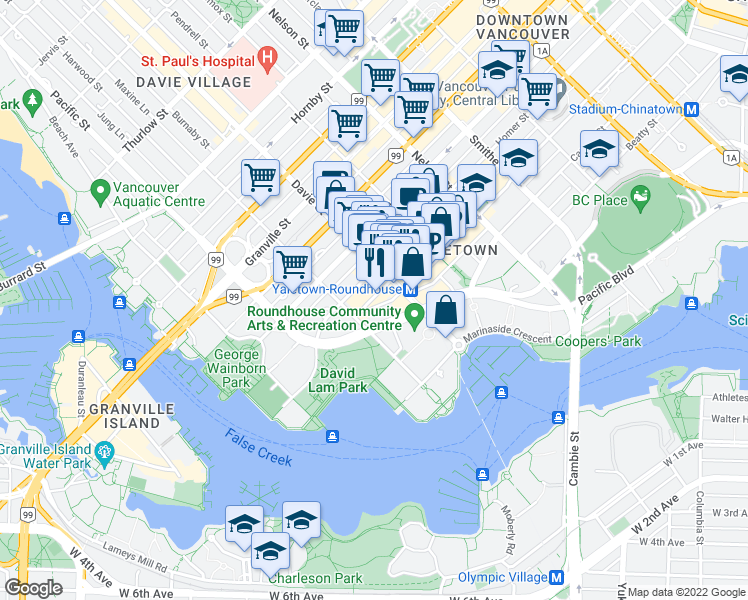 map of restaurants, bars, coffee shops, grocery stores, and more near 1230 Hamilton Street in Vancouver