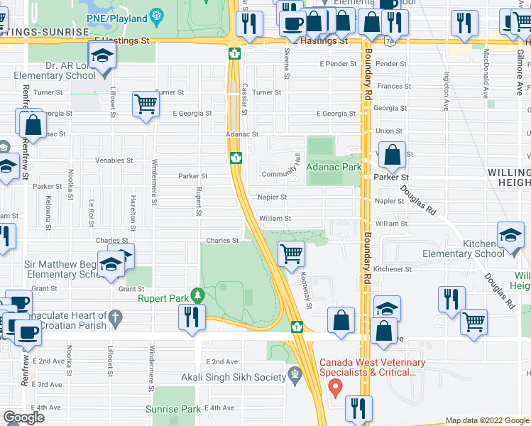 map of restaurants, bars, coffee shops, grocery stores, and more near 3455 William Street in Vancouver