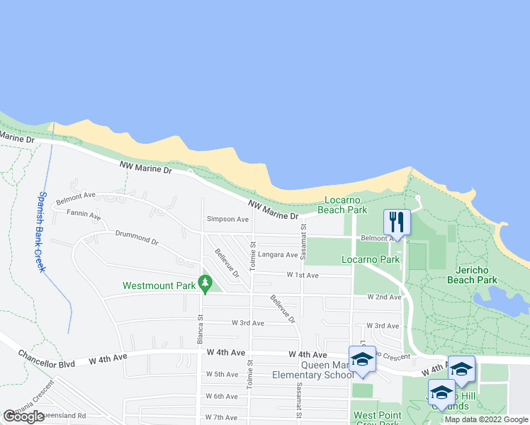 map of restaurants, bars, coffee shops, grocery stores, and more near 4588 Northwest Marine Drive in Vancouver