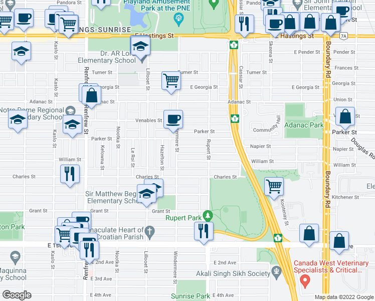 map of restaurants, bars, coffee shops, grocery stores, and more near 3228 Napier Street in Vancouver