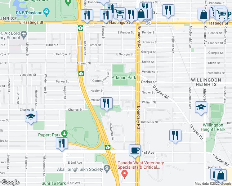 map of restaurants, bars, coffee shops, grocery stores, and more near 3582 Napier Street in Vancouver